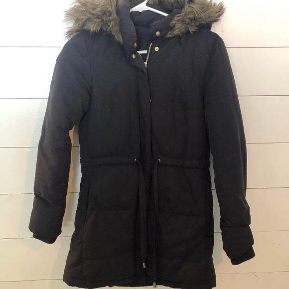 d52ecd503 H&M Divided Puffer Coat Jacket quilted fur hood Sm